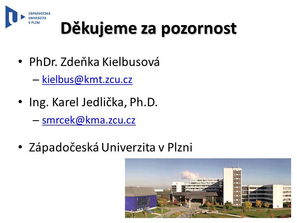 Děkujeme za pozornost • PhDr. Zdeňka Kielbusová – kielbus@kmt.zcu.cz kielbus@kmt.zcu.cz • Ing. Karel Jedlička, Ph.D. – smrcek@kma.zcu.cz smrcek@kma.zc