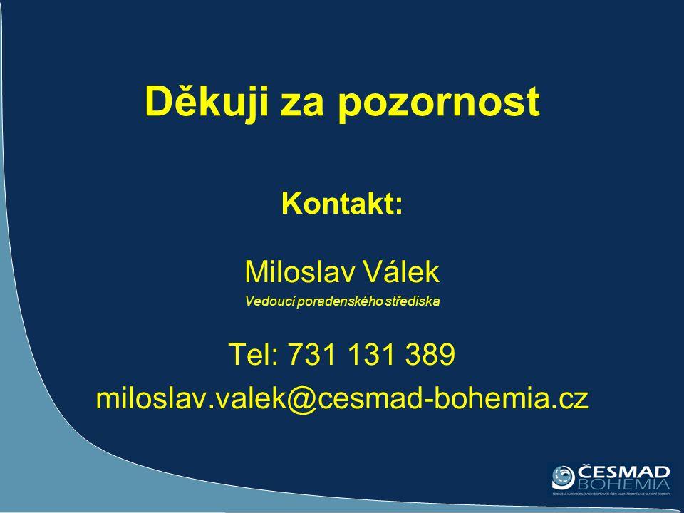 Děkuji za pozornost Kontakt: Miloslav Válek Vedoucí poradenského střediska Tel: 731 131 389 miloslav.valek@cesmad-bohemia.cz