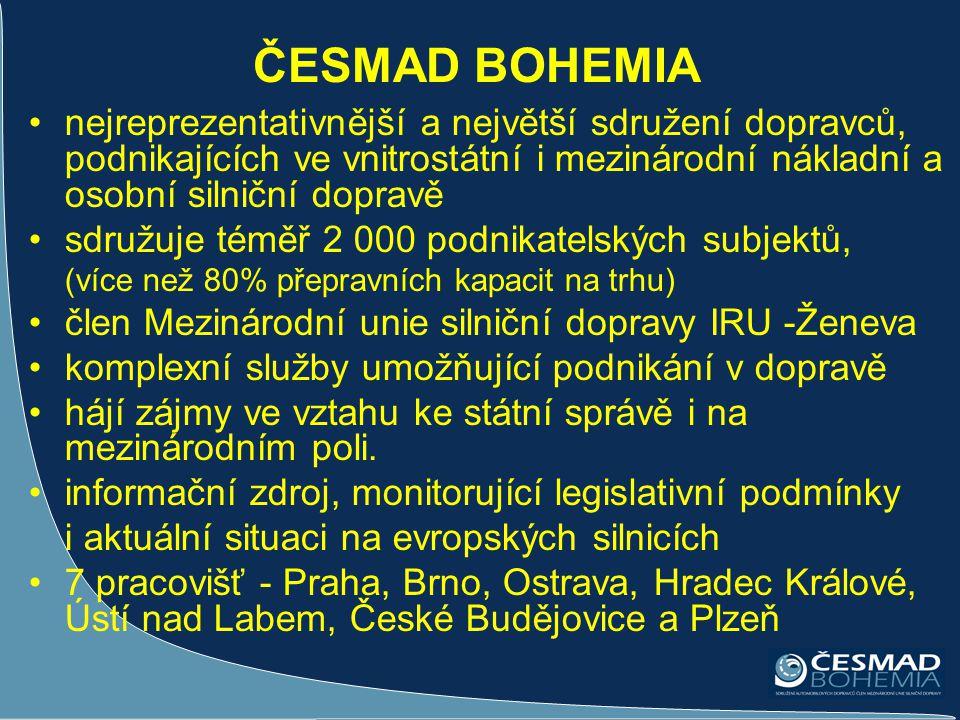 ČESMAD BOHEMIA •nejreprezentativnější a největší sdružení dopravců, podnikajících ve vnitrostátní i mezinárodní nákladní a osobní silniční dopravě •sd