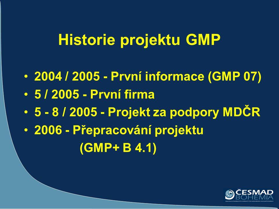 Historie projektu GMP •2004 / 2005 - První informace (GMP 07) •5 / 2005 - První firma •5 - 8 / 2005 - Projekt za podpory MDČR •2006 - Přepracování pro