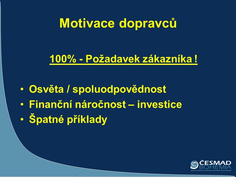 Motivace dopravců 100% - Požadavek zákazníka ! •Osvěta / spoluodpovědnost •Finanční náročnost – investice •Špatné příklady