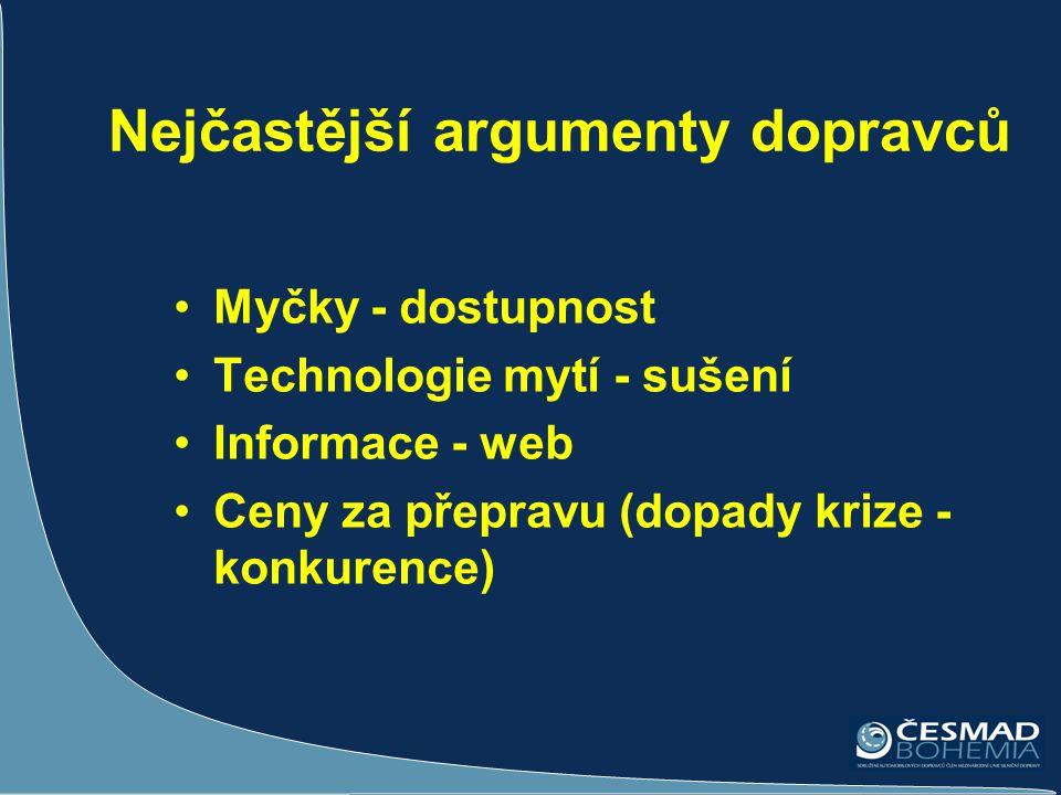 Nejčastější argumenty dopravců •Myčky - dostupnost •Technologie mytí - sušení •Informace - web •Ceny za přepravu (dopady krize - konkurence)
