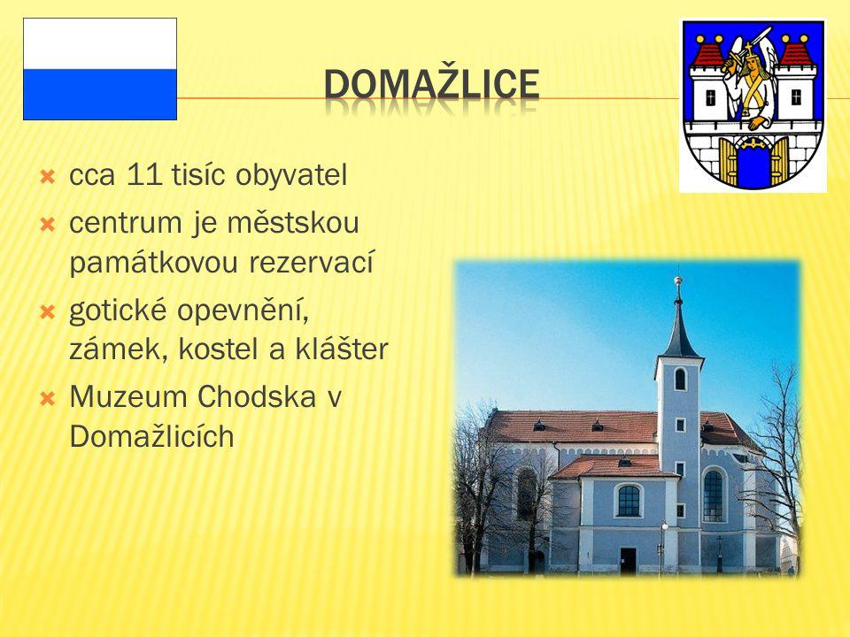  cca 11 tisíc obyvatel  centrum je městskou památkovou rezervací  gotické opevnění, zámek, kostel a klášter  Muzeum Chodska v Domažlicích