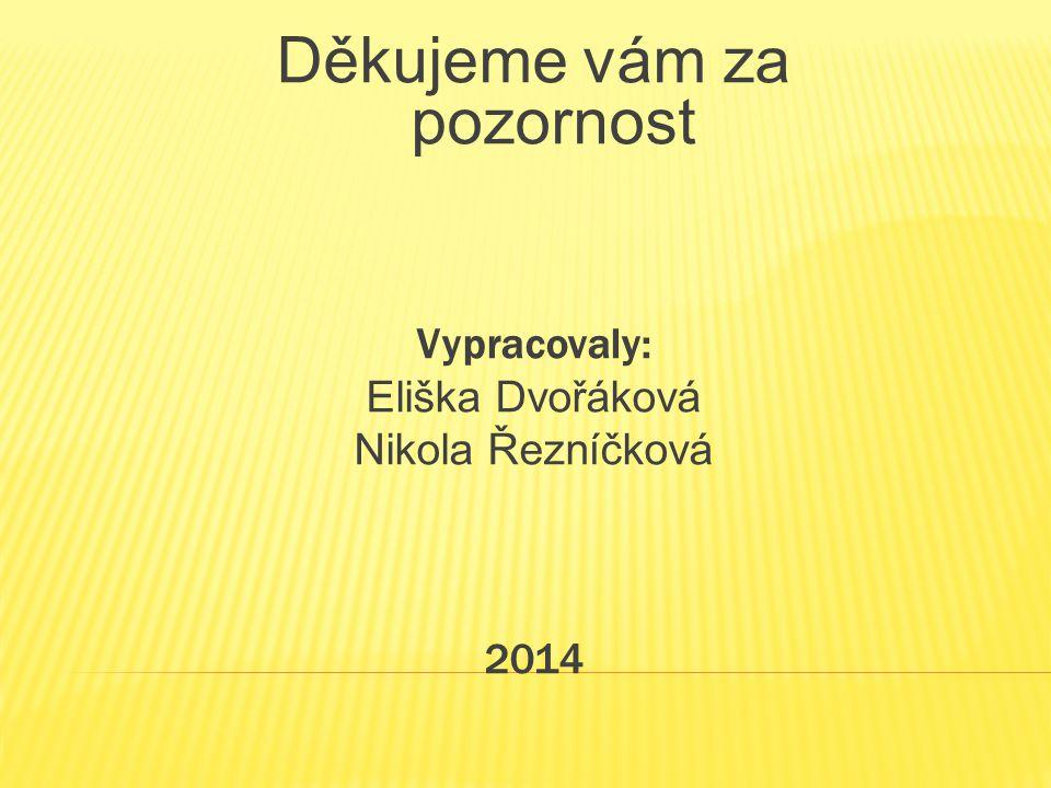 Děkujeme vám za pozornost Vypracovaly: Eliška Dvořáková Nikola Řezníčková 2014