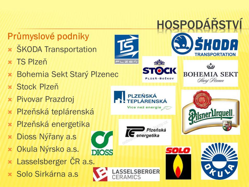  ŠKODA Transportation  TS Plzeň  Bohemia Sekt Starý Plzenec  Stock Plzeň  Pivovar Prazdroj  Plzeňská teplárenská  Plzeňská energetika  Dioss Nýřany a.s  Okula Nýrsko a.s.