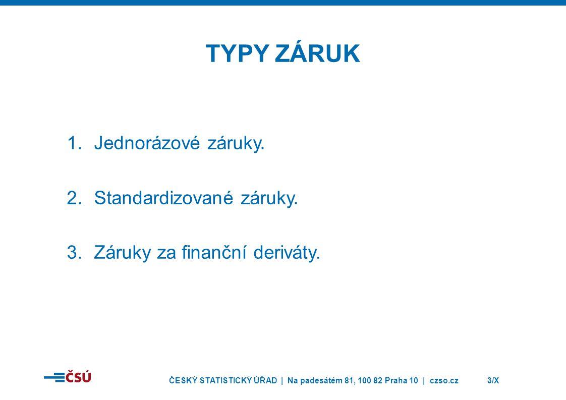 ČESKÝ STATISTICKÝ ÚŘAD | Na padesátém 81, 100 82 Praha 10 | czso.cz3/X TYPY ZÁRUK 1.Jednorázové záruky.