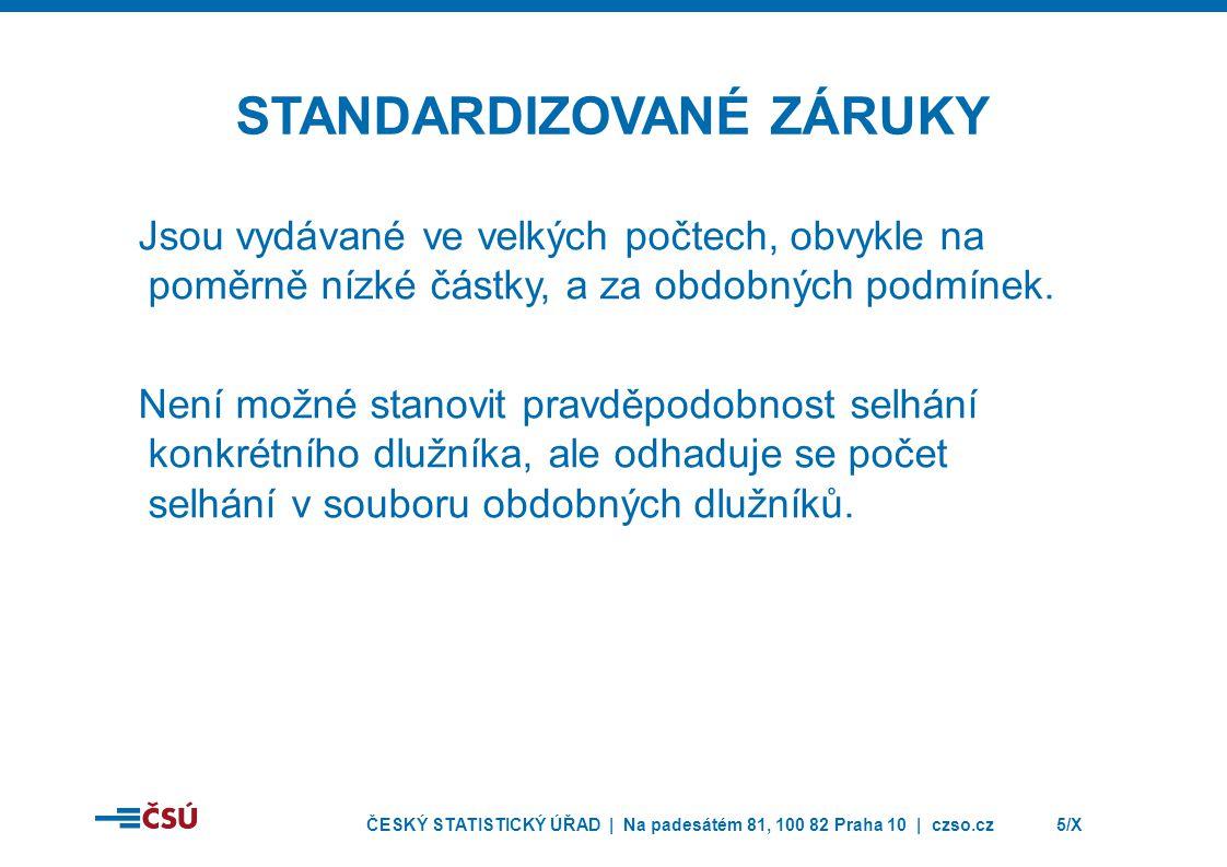 ČESKÝ STATISTICKÝ ÚŘAD | Na padesátém 81, 100 82 Praha 10 | czso.cz5/X STANDARDIZOVANÉ ZÁRUKY Jsou vydávané ve velkých počtech, obvykle na poměrně nízké částky, a za obdobných podmínek.