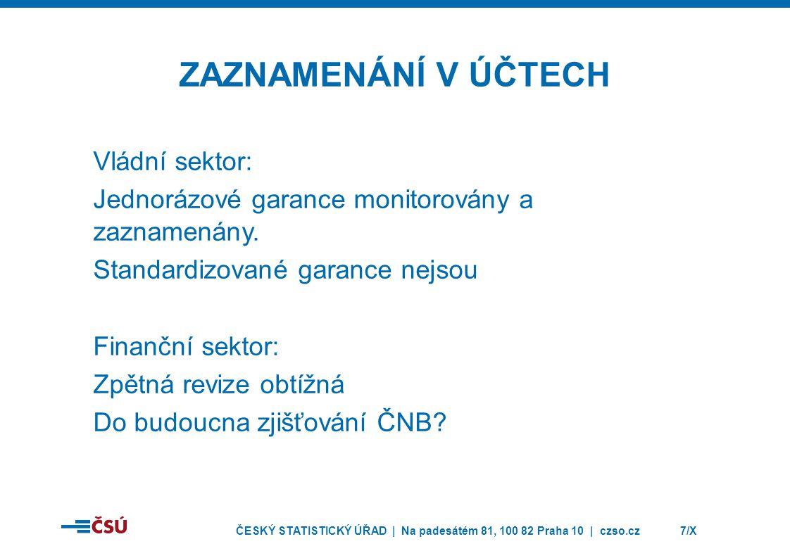 ČESKÝ STATISTICKÝ ÚŘAD | Na padesátém 81, 100 82 Praha 10 | czso.cz7/X ZAZNAMENÁNÍ V ÚČTECH Vládní sektor: Jednorázové garance monitorovány a zaznamenány.