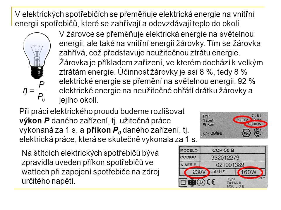 """Známe-li elektrický příkon P 0 vodiče a dobu t po kterou vodičem prochází elektrický proud, můžeme určit elektrickou práci W Elektrickou práci vyjadřujeme častěji v jednotkách odvozených z tohoto vztahu V praxi se používají větší jednotky – kilowatthodiny (kWh) megawatthodiny (MWh) V elektrotechnické praxi se místo názvu elektrická práce obvykle používá název """"spotřeba elektrické energie s jednotkou kWh nebo MWh."""