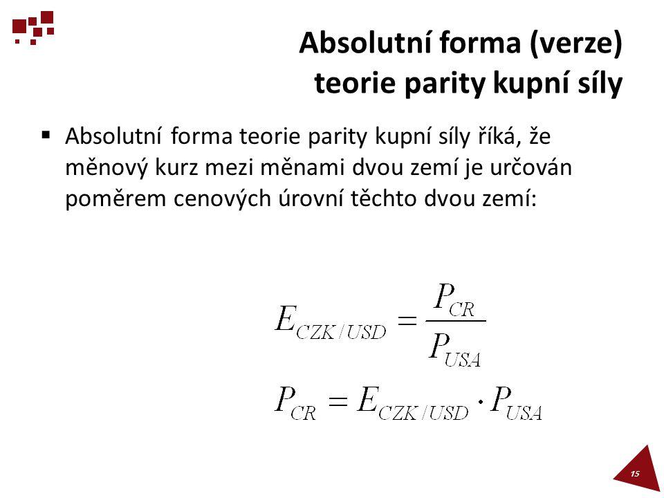 Absolutní forma (verze) teorie parity kupní síly  Absolutní forma teorie parity kupní síly říká, že měnový kurz mezi měnami dvou zemí je určován pomě