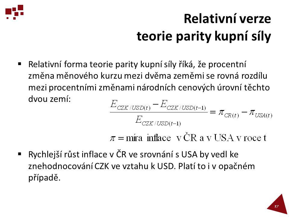 Relativní verze teorie parity kupní síly  Relativní forma teorie parity kupní síly říká, že procentní změna měnového kurzu mezi dvěma zeměmi se rovná