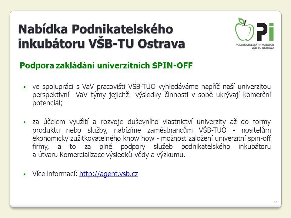 10 Podpora zakládání univerzitních SPIN-OFF  ve spolupráci s VaV pracovišti VŠB-TUO vyhledáváme napříč naší univerzitou perspektivní VaV týmy jejichž