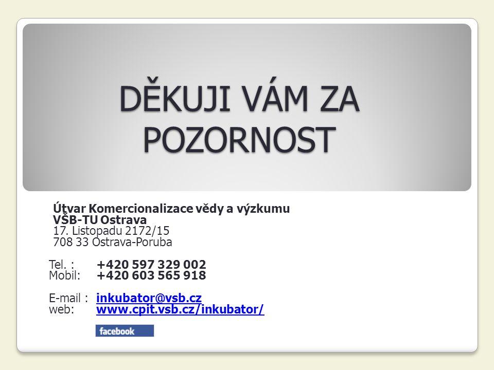 DĚKUJI VÁM ZA POZORNOST Útvar Komercionalizace vědy a výzkumu VŠB-TU Ostrava 17. Listopadu 2172/15 708 33 Ostrava-Poruba Tel. : +420 597 329 002 Mobil