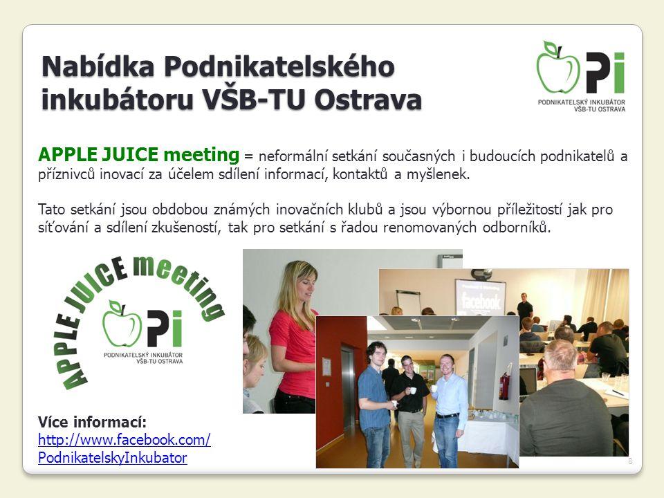 8 APPLE JUICE meeting = neformální setkání současných i budoucích podnikatelů a příznivců inovací za účelem sdílení informací, kontaktů a myšlenek. Ta