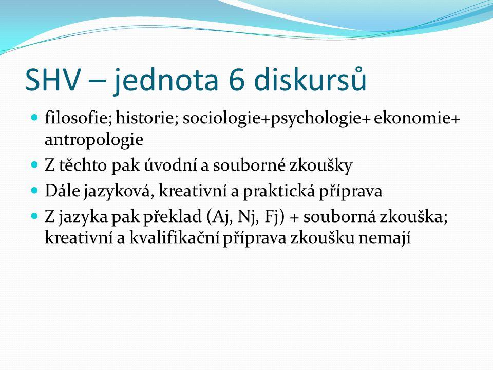 SHV – jednota 6 diskursů  filosofie; historie; sociologie+psychologie+ ekonomie+ antropologie  Z těchto pak úvodní a souborné zkoušky  Dále jazykov