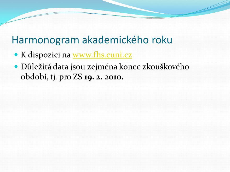 Harmonogram akademického roku  K dispozici na www.fhs.cuni.czwww.fhs.cuni.cz  Důležitá data jsou zejména konec zkouškového období, tj. pro ZS 19. 2.