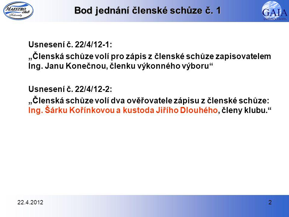 22.4.20123 Bod jednání členské schůze č.1 Usnesení č.