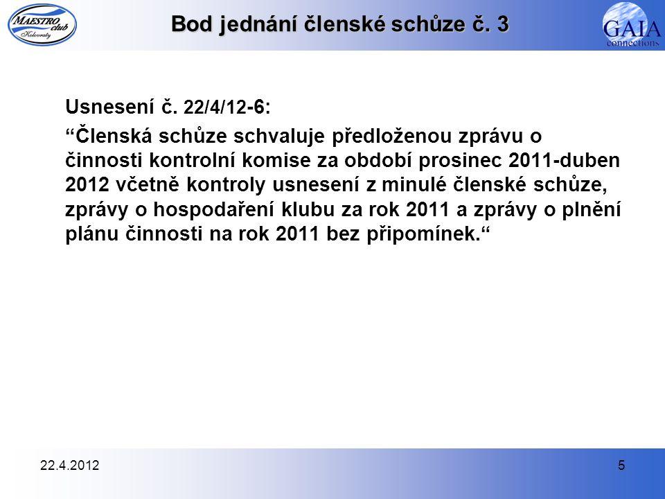 22.4.20126 Bod jednání členské schůze č.4 Usnesení č.