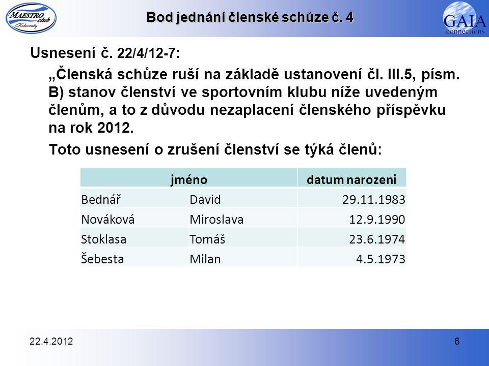 22.4.20127 Bod jednání členské schůze č.5 Usnesení č.