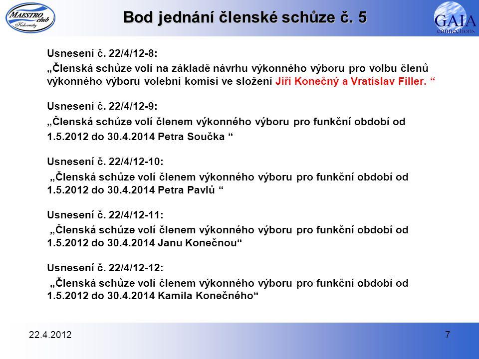 22.4.20128 Bod jednání členské schůze č.5 Usnesení č.