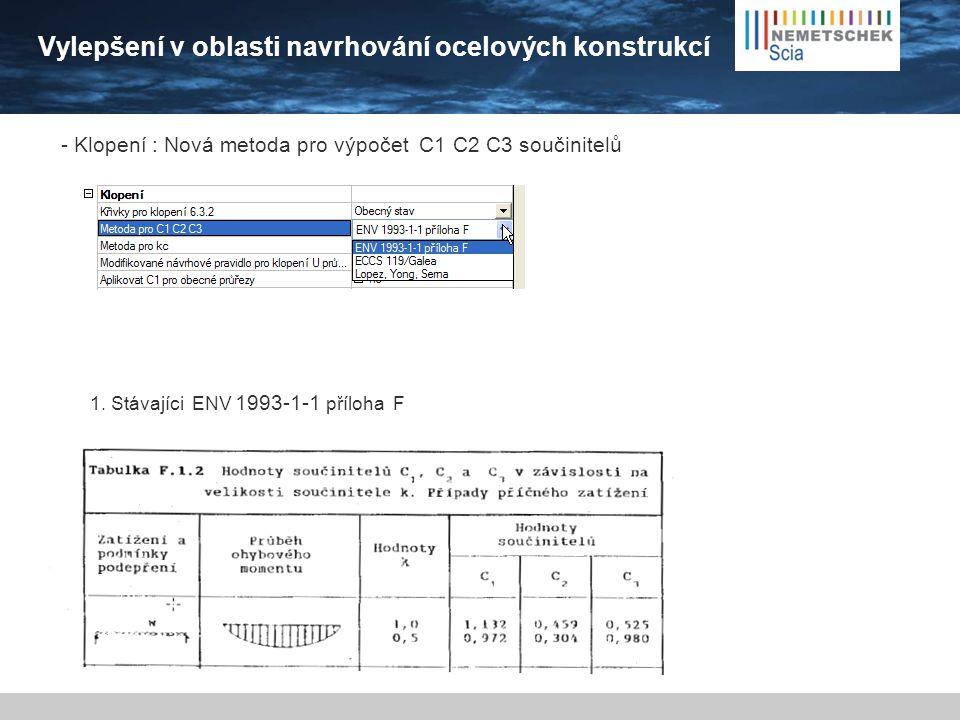 Vylepšení v oblasti navrhování ocelových konstrukcí - Klopení : Nová metoda pro výpočet C1 C2 C3 součinitelů 1.
