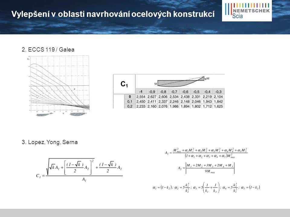 Vylepšení v oblasti navrhování ocelových konstrukcí 2. ECCS 119 / Galea 3. Lopez, Yong, Serna