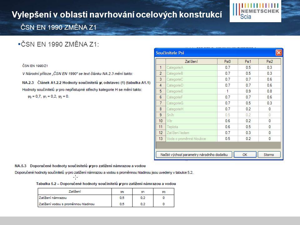 Vylepšení v oblasti navrhování ocelových konstrukcí  ČSN EN 1990 ZMĚNA Z1: ČSN EN 1990 ZMĚNA Z1