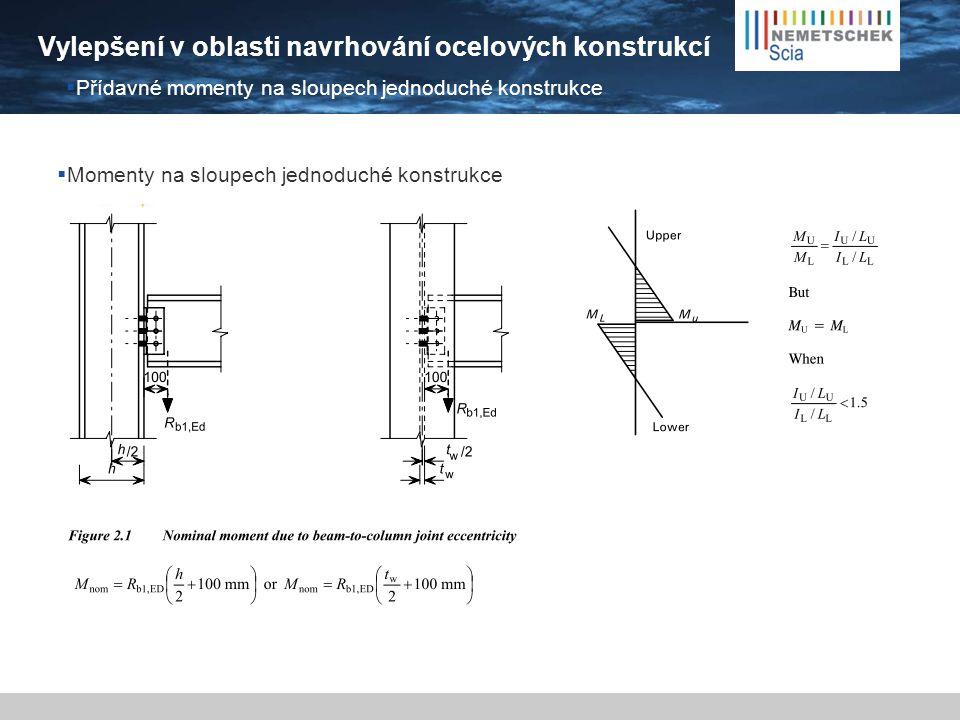 Vylepšení v oblasti navrhování ocelových konstrukcí  Automatická generace  Posudek  Přídavné momenty na sloupech jednoduché konstrukce