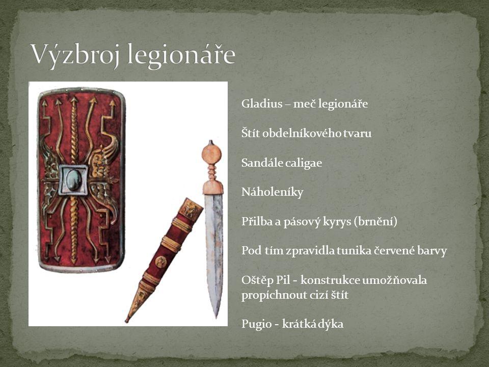 Gladius – meč legionáře Štít obdelníkového tvaru Sandále caligae Náholeníky Přilba a pásový kyrys (brnění) Pod tím zpravidla tunika červené barvy Oště