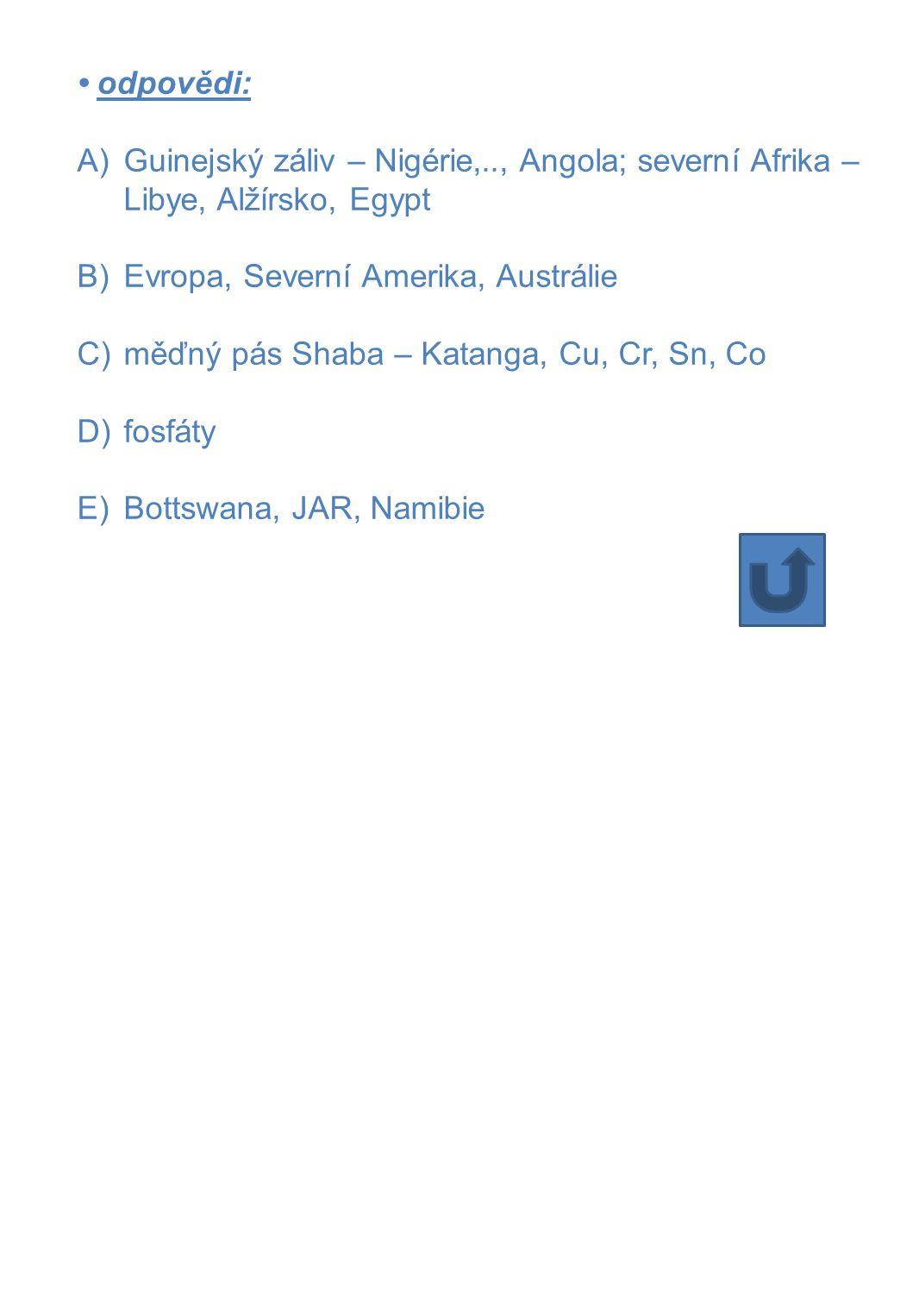• odpovědi: A)Guinejský záliv – Nigérie,.., Angola; severní Afrika – Libye, Alžírsko, Egypt B)Evropa, Severní Amerika, Austrálie C)měďný pás Shaba – K
