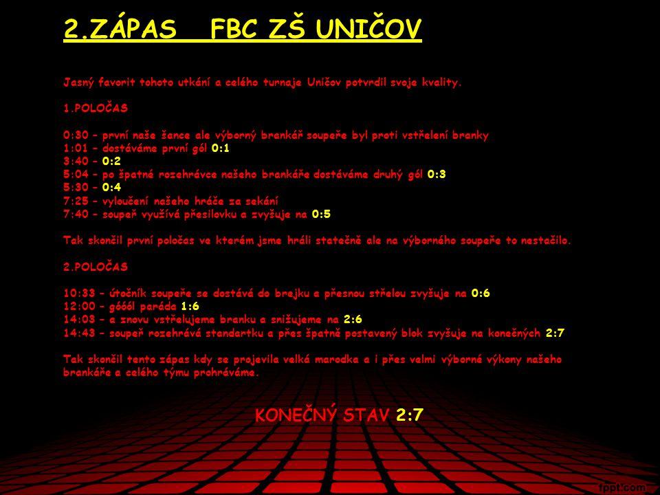 2.ZÁPAS FBC ZŠ UNIČOV Jasný favorit tohoto utkání a celého turnaje Uničov potvrdil svoje kvality.