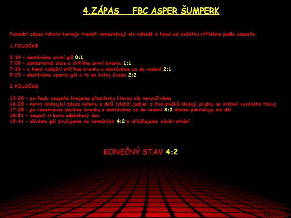 4.ZÁPAS FBC ASPER ŠUMPERK Poslední zápas tohoto turnaje trenéři nenechávají nic náhodě a hned od začátku střídáme podle soupeře.