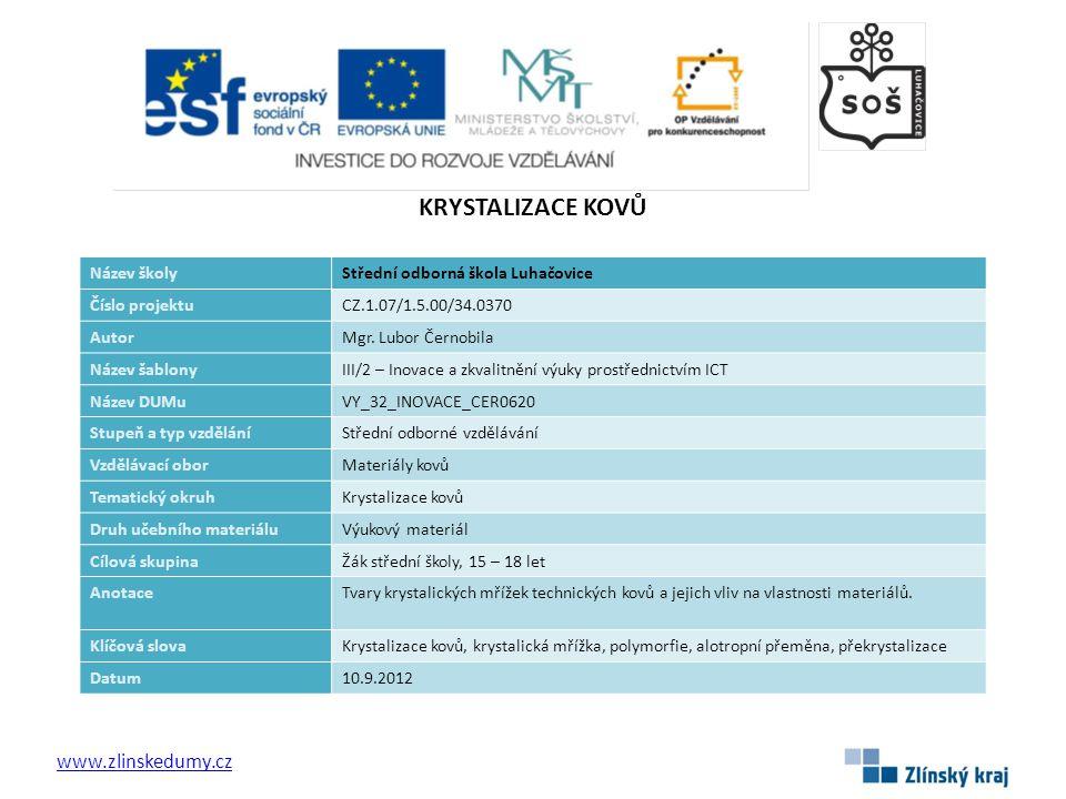 KRYSTALIZACE KOVŮ www.zlinskedumy.cz Název školyStřední odborná škola Luhačovice Číslo projektuCZ.1.07/1.5.00/34.0370 AutorMgr. Lubor Černobila Název