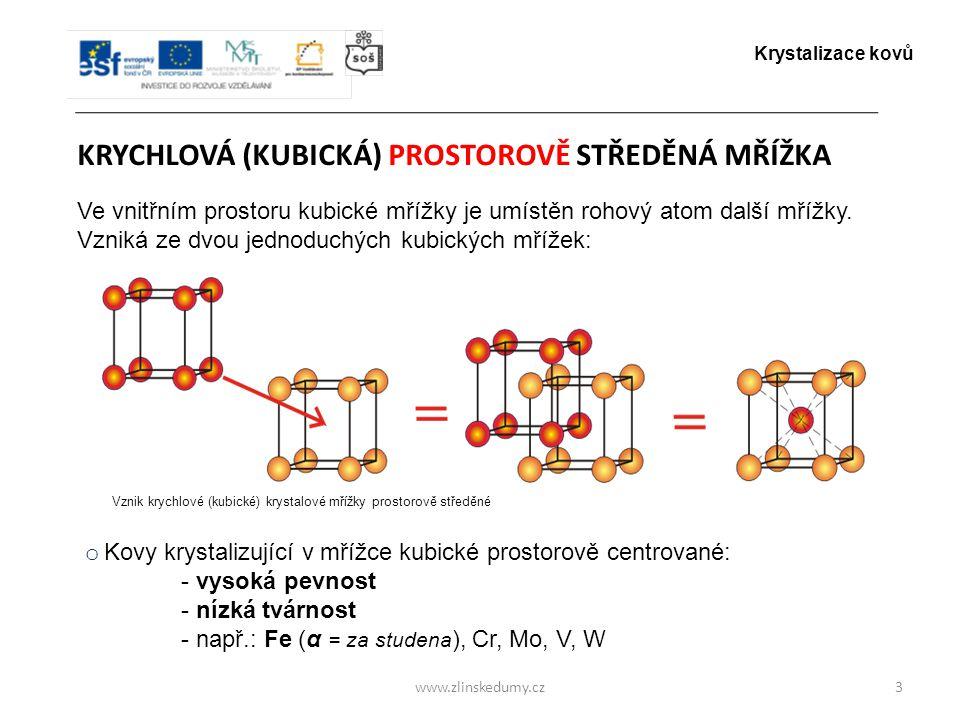 www.zlinskedumy.cz KRYCHLOVÁ (KUBICKÁ) PROSTOROVĚ STŘEDĚNÁ MŘÍŽKA 3 Ve vnitřním prostoru kubické mřížky je umístěn rohový atom další mřížky. Vzniká ze