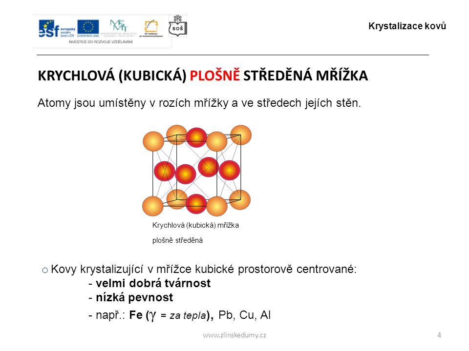www.zlinskedumy.cz KRYCHLOVÁ (KUBICKÁ) PLOŠNĚ STŘEDĚNÁ MŘÍŽKA 4 Atomy jsou umístěny v rozích mřížky a ve středech jejích stěn. o Kovy krystalizující v