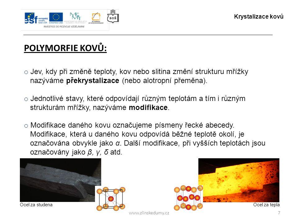 www.zlinskedumy.cz POLYMORFIE KOVŮ: 7 o Jev, kdy při změně teploty, kov nebo slitina změní strukturu mřížky nazýváme překrystalizace (nebo alotropní p