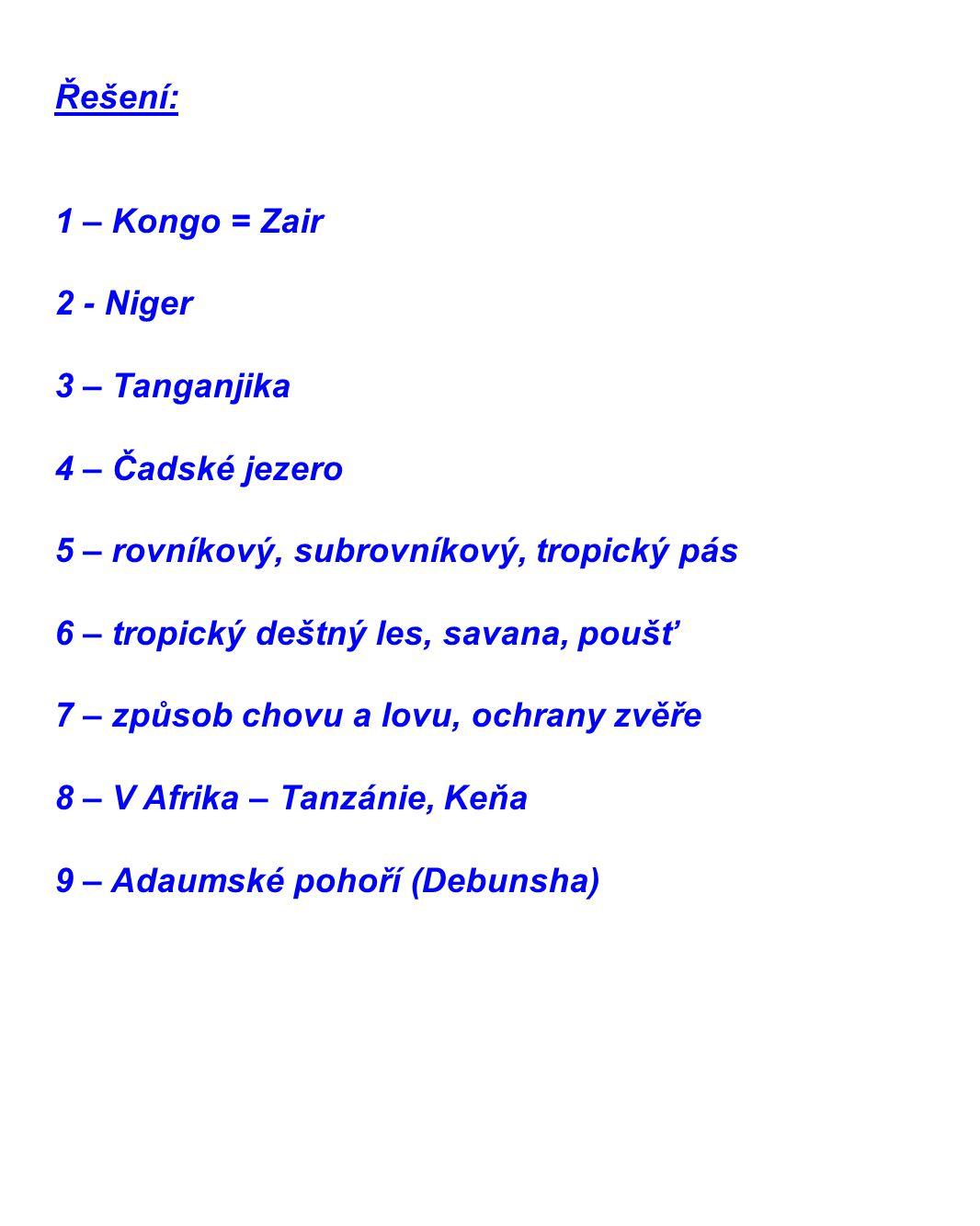 Řešení: 1 – Kongo = Zair 2 - Niger 3 – Tanganjika 4 – Čadské jezero 5 – rovníkový, subrovníkový, tropický pás 6 – tropický deštný les, savana, poušť 7