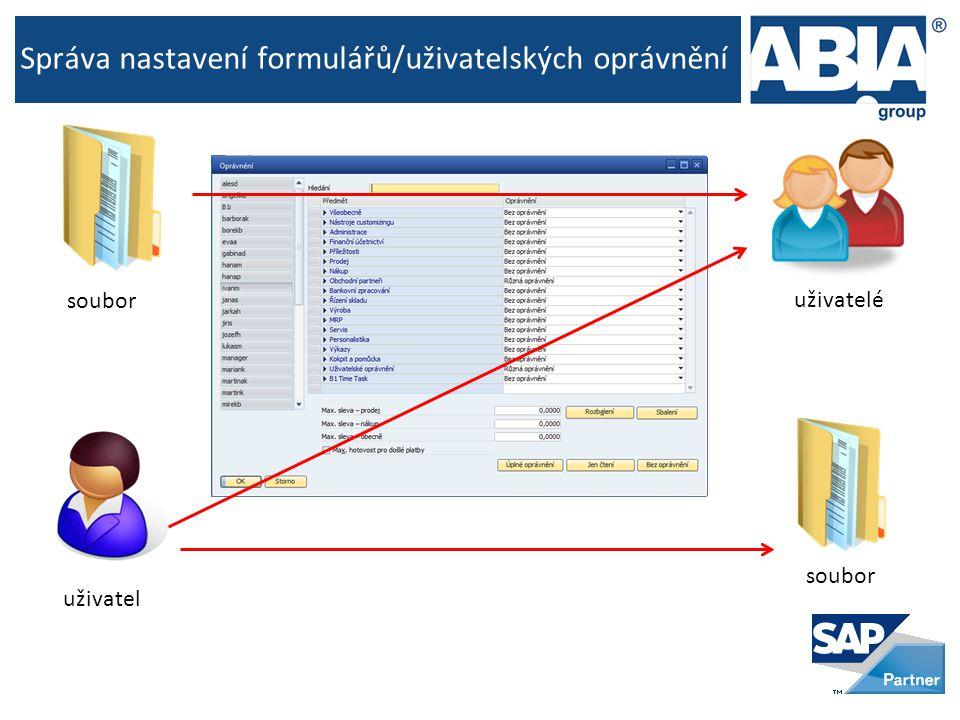Správa nastavení formulářů/uživatelských oprávnění uživatel uživatelé soubor