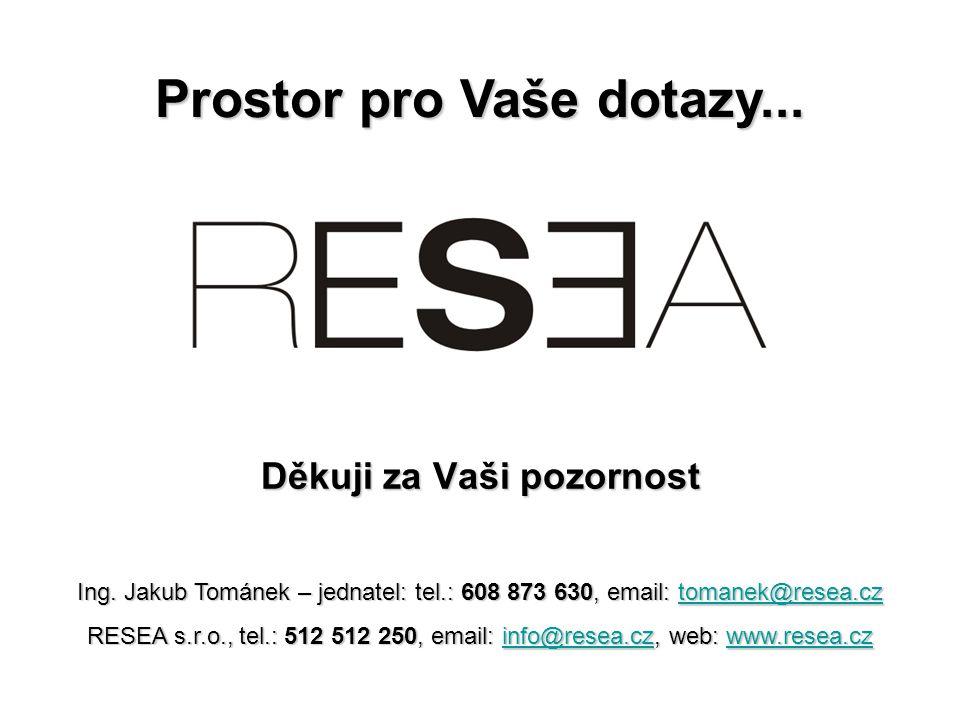 Děkuji za Vaši pozornost Ing. Jakub Tománek – jednatel: tel.: 608 873 630, email: tomanek@resea.cz tomanek@resea.cztomanek@resea.cz RESEA s.r.o., tel.