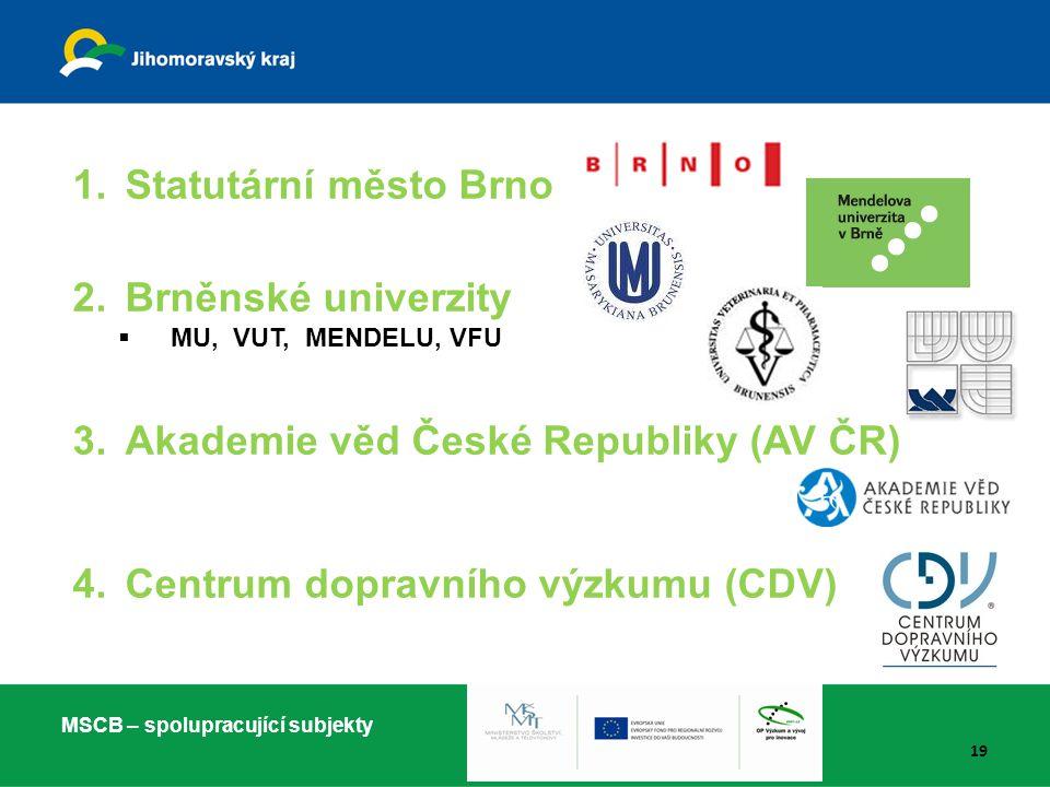 1.Statutární město Brno 2.Brněnské univerzity  MU, VUT, MENDELU, VFU 3.Akademie věd České Republiky (AV ČR) 4.Centrum dopravního výzkumu (CDV) MSCB –
