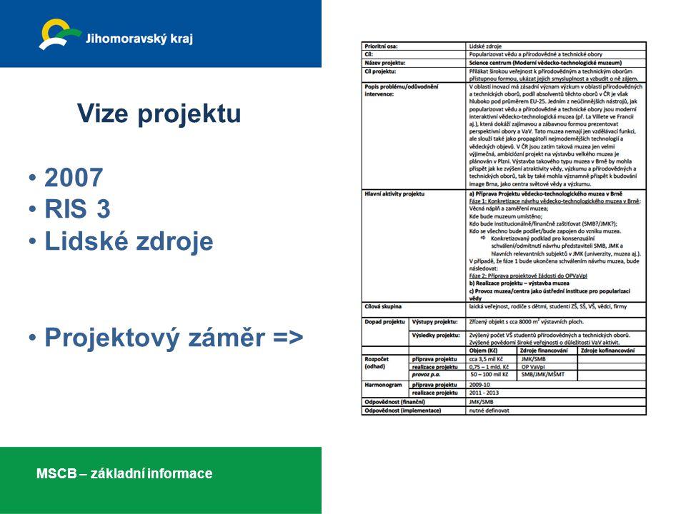 Vize projektu • 2007 • RIS 3 • Lidské zdroje • Projektový záměr => MSCB – základní informace 3