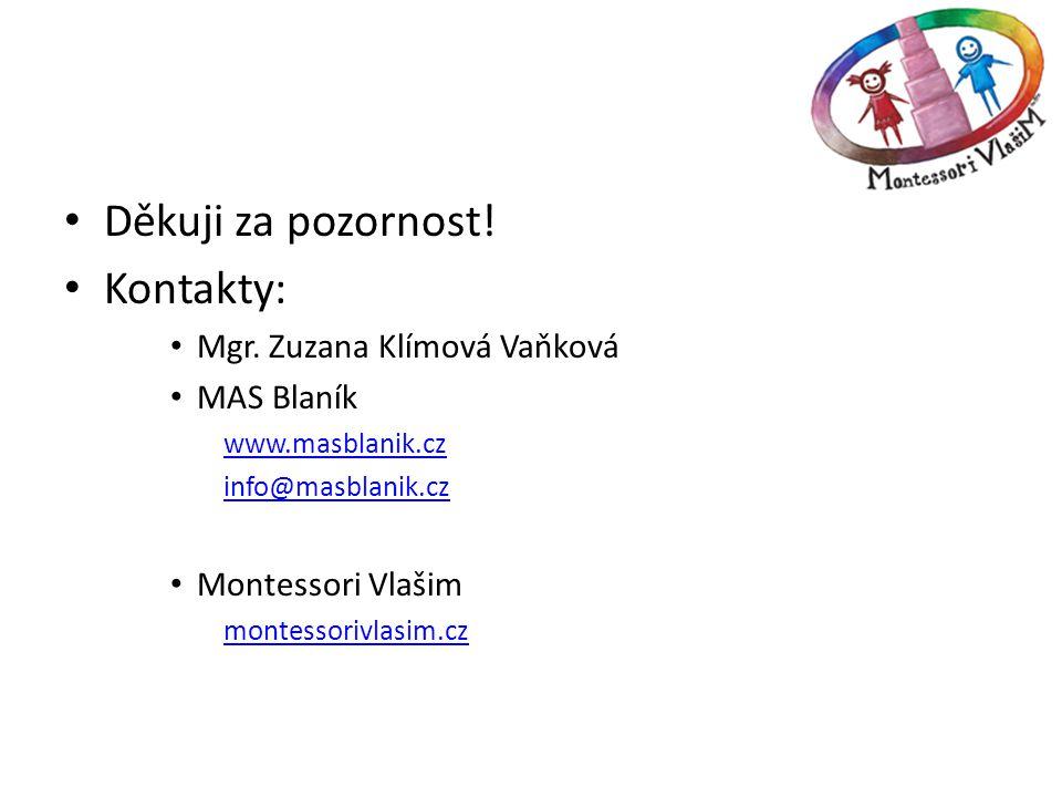 • Děkuji za pozornost! • Kontakty: • Mgr. Zuzana Klímová Vaňková • MAS Blaník www.masblanik.cz info@masblanik.cz • Montessori Vlašim montessorivlasim.