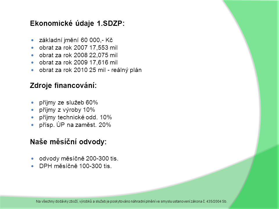 Ekonomické údaje 1.SDZP:  základní jmění 60 000,- Kč  obrat za rok 2007 17,553 mil  obrat za rok 2008 22,075 mil  obrat za rok 2009 17,616 mil  obrat za rok 2010 25 mil - reálný plán Zdroje financování:  příjmy ze služeb 60%  příjmy z výroby 10%  příjmy technické odd.