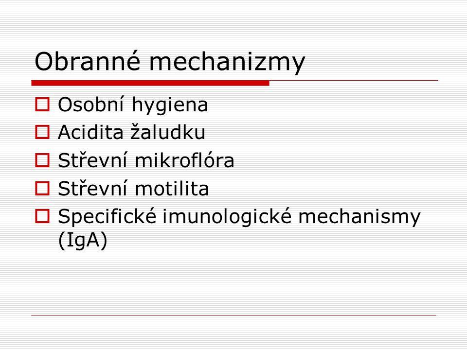 Obranné mechanizmy  Osobní hygiena  Acidita žaludku  Střevní mikroflóra  Střevní motilita  Specifické imunologické mechanismy (IgA)