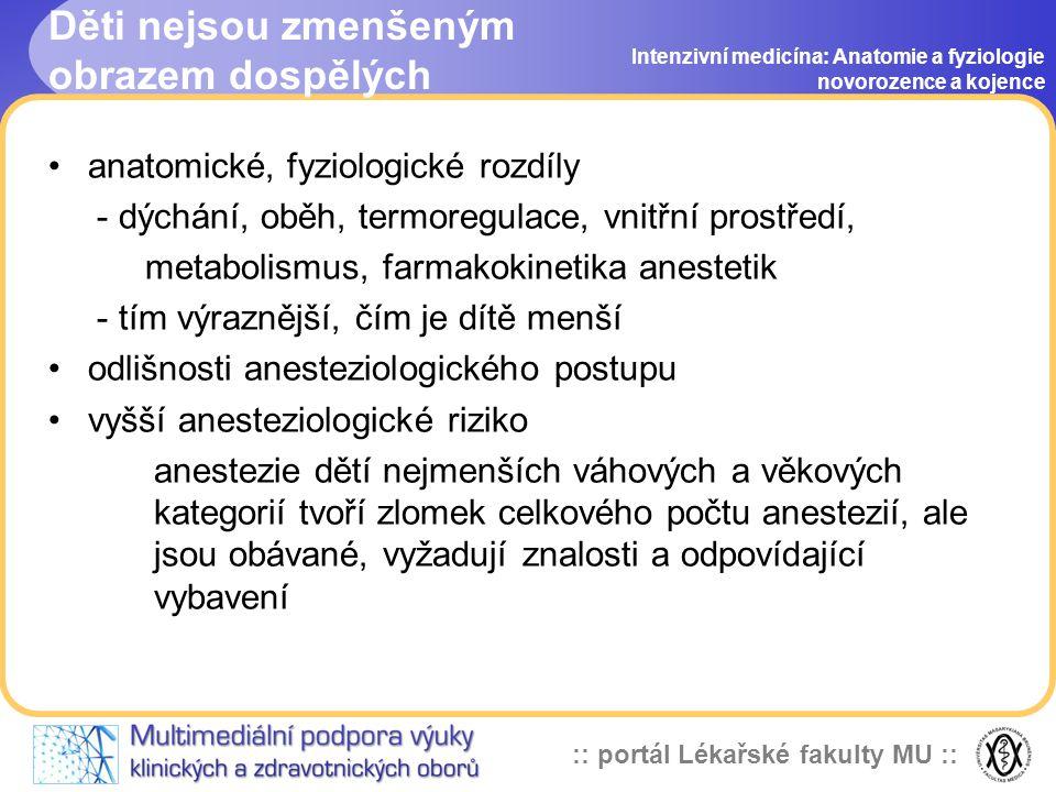 :: portál Lékařské fakulty MU :: Děti nejsou zmenšeným obrazem dospělých Intenzivní medicína: Anatomie a fyziologie novorozence a kojence •anatomické, fyziologické rozdíly - dýchání, oběh, termoregulace, vnitřní prostředí, metabolismus, farmakokinetika anestetik - tím výraznější, čím je dítě menší •odlišnosti anesteziologického postupu •vyšší anesteziologické riziko anestezie dětí nejmenších váhových a věkových kategorií tvoří zlomek celkového počtu anestezií, ale jsou obávané, vyžadují znalosti a odpovídající vybavení