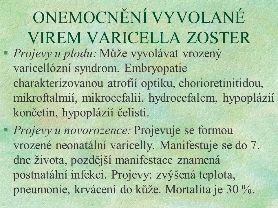 ONEMOCNĚNÍ VYVOLANÉ VIREM VARICELLA ZOSTER §Projevy u plodu: Může vyvolávat vrozený varicellózní syndrom. Embryopatie charakterizovanou atrofií optiku