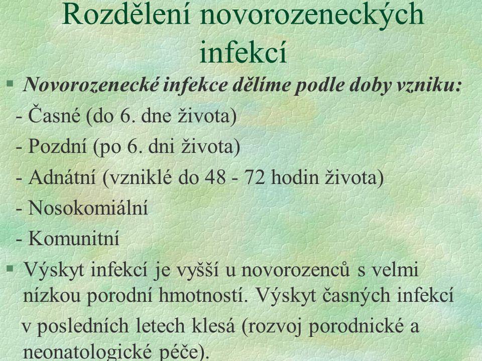 Rozdělení novorozeneckých infekcí §Novorozenecké infekce dělíme podle doby vzniku: - Časné (do 6. dne života) - Pozdní (po 6. dni života) - Adnátní (v