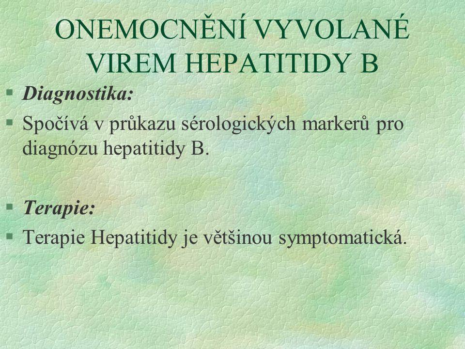 ONEMOCNĚNÍ VYVOLANÉ VIREM HEPATITIDY B §Diagnostika: §Spočívá v průkazu sérologických markerů pro diagnózu hepatitidy B. §Terapie: §Terapie Hepatitidy