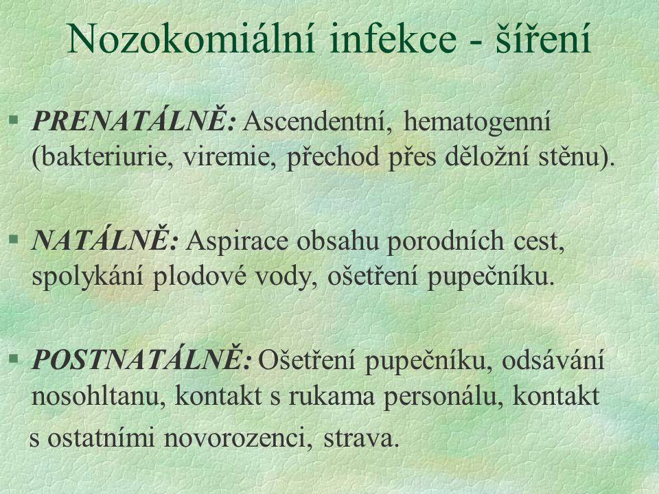 Nozokomiální infekce - šíření §PRENATÁLNĚ: Ascendentní, hematogenní (bakteriurie, viremie, přechod přes děložní stěnu). §NATÁLNĚ: Aspirace obsahu poro