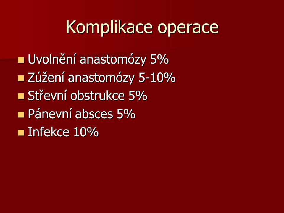 Komplikace operace  Uvolnění anastomózy 5%  Zúžení anastomózy 5-10%  Střevní obstrukce 5%  Pánevní absces 5%  Infekce 10%